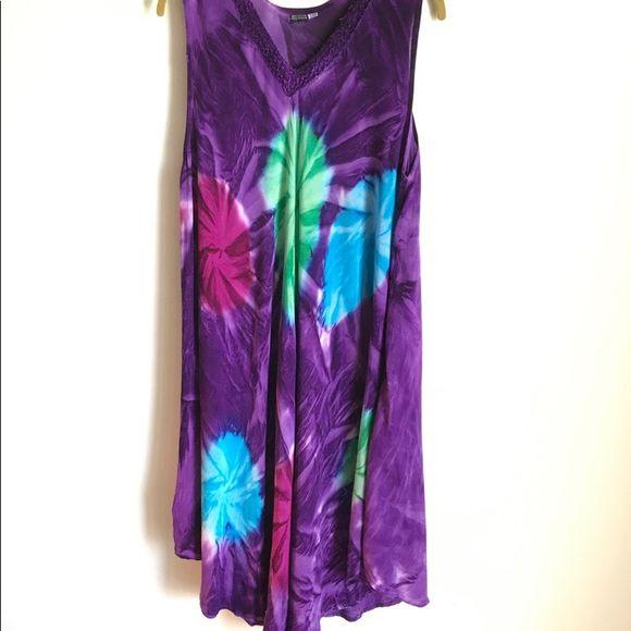Unbranded Dress Tie Dyed Purple Green